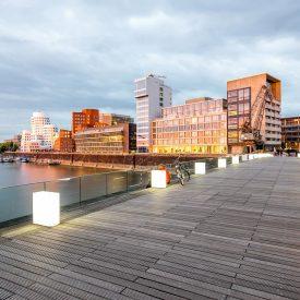 Ansicht des Medienhafen in Düsseldorf.